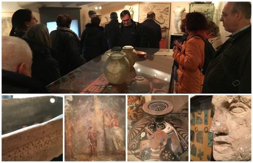 Un moment de la visita de la SCE i diverses peces de la col·lecció de la FPCAI