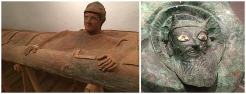 La tapa d'un taüt i la figura d'un déu etrusc