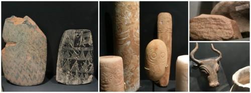 Diverses peces prehistòriques de la FPCAI, com ídols, pectorals religiosos o eines de 500.000 a. C.